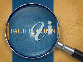 Facilitation through Loupe on Old Paper with Dark Blue Vertical Line Background. 3D Render.
