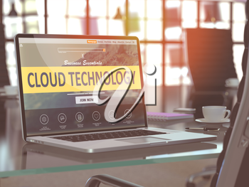 Cloud Technology Concept Closeup on Laptop Screen in Modern Office Workplace. Toned Image with Selective Focus. 3D Render.