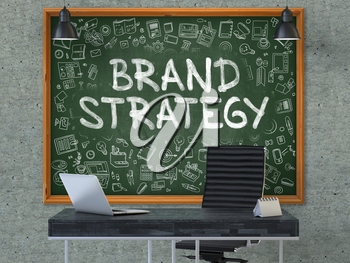 Hand Drawn Brand Strategy on Green Chalkboard. Modern Office Interior. Gray Concrete Wall Background. Business Concept with Doodle Style Elements. 3D.
