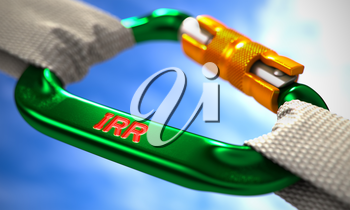 Green Carabiner between White Ropes on Sky Background, symbolizing the IRR - Internal Rate Return. Selective Focus. 3D Render.