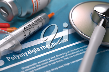 Diagnosis - Polymyalgia rheumatica. Medical Concept with Blurred Text, Stethoscope, Pills and Syringe on Blue Background. Selective Focus. 3D Render.