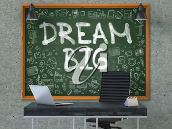 Hand Drawn Dream Big on Green Chalkboard. Modern Office Interior . Gray Concrete Wall Background. Business Concept with Doodle Style Elements. 3D.