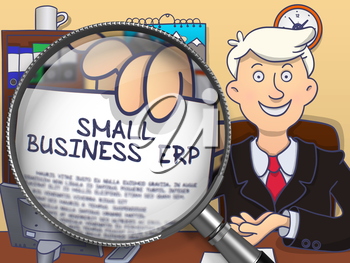 Small Business Erp. Smiling Man Welcomes in Office and Showing Paper with Text through Magnifier. Colored Doodle Style Illustration.