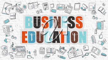 Multicolor Concept - Business Education - on White Brick Wall with Doodle Icons Around. Modern Illustration with Doodle Design Style.