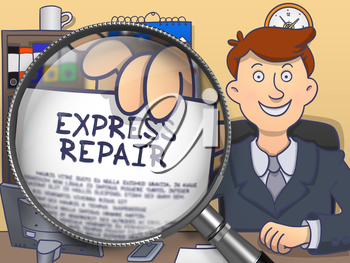 Man Holding a Concept on Paper Express Repair. Closeup View through Magnifier. Colored Doodle Illustration.