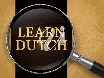 Learn Dutch through Lens on Old Paper with Black Vertical Line Background. 3D Render.