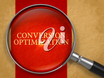 Conversion Optimization Concept through Magnifier on Old Paper with Crimson Vertical Line Background. 3D Render.