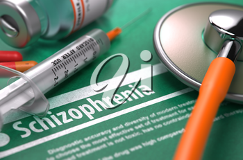 Diagnosis - Schizophrenia. Medical Concept with Blurred Text, Stethoscope, Pills and Syringe on Green Background. Selective Focus. 3D Render.