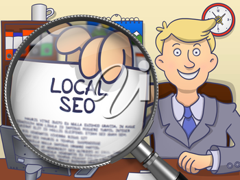 Officeman in Suit Looking at Camera and Holds Out a Paper with Concept Local SEO Concept through Magnifier. Closeup View. Multicolor Doodle Style Illustration.