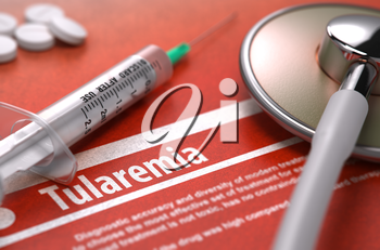 Tularemia - Printed Diagnosis on Orange Background and Medical Composition - Stethoscope, Pills and Syringe. Medical Concept. Blurred Image. 3D Render.