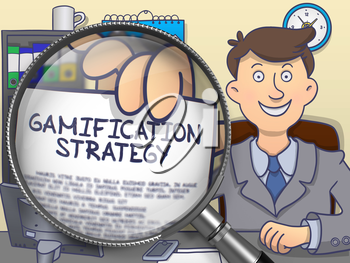 Gamification Strategy through Magnifier. Man Holding a Paper with Concept. Closeup View. Multicolor Doodle Style Illustration.