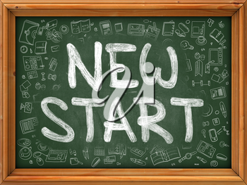 New Start - Hand Drawn on Green Chalkboard with Doodle Icons Around. Modern Illustration with Doodle Design Style.