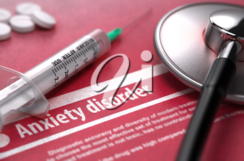 Anxiety disorder - Medical Concept on Red Background with Blurred Text and Composition of Pills, Syringe and Stethoscope. 3D Render.