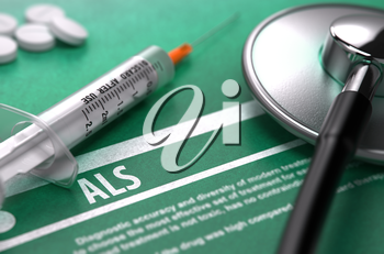 ALS - Medical Concept on Green Background with Blurred Text and Composition of Pills, Syringe and Stethoscope. 3D Render.