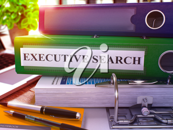 Executive Search - Green Office Folder on Background of Working Table with Stationery and Laptop. Executive Search Business Concept on Blurred Background. Executive Search Toned Image. 3D.