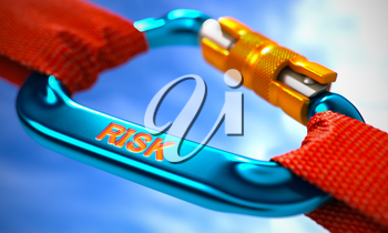 Risk on Blue Carabine with a Red Ropes. Selective Focus. 3D Render.