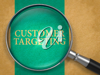 Customer Targeting through Loupe on Old Paper with Blue Vertical Line Background. 3D Render.