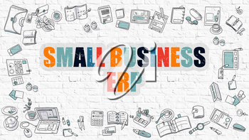 Small Business ERP - Enterprise Resource Planning - Multicolor Concept with Doodle Icons Around on White Brick Wall Background. Modern Illustration with Elements of Doodle Design Style.