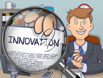 Businessman in Suit Showing a Paper with Inscription Innovation Concept through Lens. Closeup View. Colored Modern Line Illustration in Doodle Style.