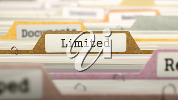 Folder in Colored Catalog Marked as Limited Closeup View. Selective Focus. 3D Render.