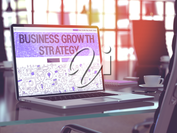 Business Growth Strategy - Closeup Landing Page in Doodle Design Style on Laptop Screen. On Background of Comfortable Working Place in Modern Office. Toned, Blurred Image. 3D Render.