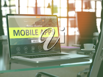 Modern Workplace with Laptop showing Landing Page with Mobile Apps Concept. Toned Image with Selective Focus. 3D Render.