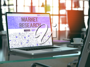 Market Research Concept. Closeup Landing Page on Laptop Screen in Doodle Design Style. On Background of Comfortable Working Place in Modern Office. Blurred, Toned Image. 3D Render.