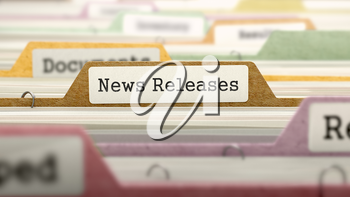 File Folder Labeled as News Releases in Multicolor Archive. Closeup View. Blurred Image. 3D Render.