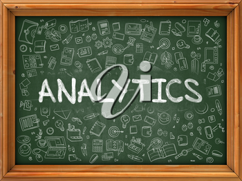 Analytics Concept. Modern Line Style Illustration. Analytics Handwritten on Green Chalkboard with Doodle Icons Around. Doodle Design Style of  Analytics Concept.