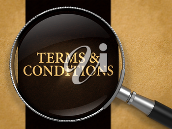 Terms and Conditions through Lens on Old Paper with Black Vertical Line Background. 3D Render.