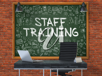 Staff Training - Hand Drawn on Green Chalkboard in Modern Office Workplace. Illustration with Doodle Design Elements. 3D.
