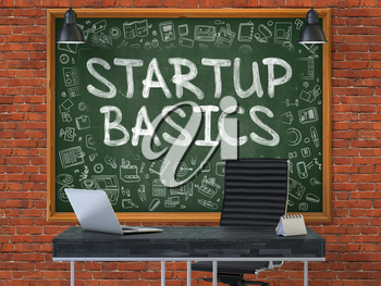 Green Chalkboard on the Red Brick Wall in the Interior of a Modern Office with Hand Drawn Startup Basics.  Business Concept with Doodle Style Elements. 3D.