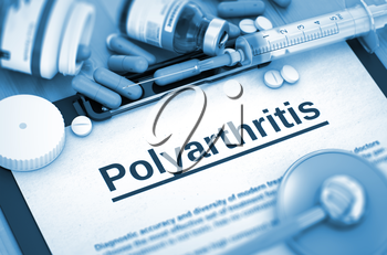Diagnosis - Polyarthritis On Background of Medicaments Composition - Pills, Injections and Syringe. Polyarthritis, Medical Concept with Selective Focus. 3D.