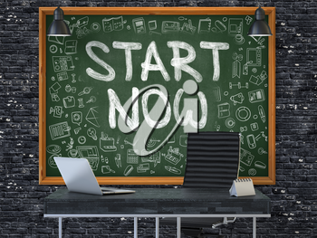 Green Chalkboard on the Dark Brick Wall in the Interior of a Modern Office with Hand Drawn Start Now. Business Concept with Doodle Style Elements. 3D.
