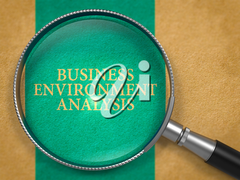 Business Environment Analysis through Magnifying Glass on Old Paper with Blue Vertical Line Background. 3D Render.
