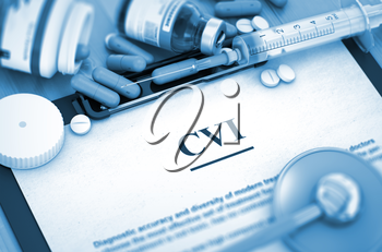 Diagnosis - CVI On Background of Medicaments Composition - Pills, Injections and Syringe.  Toned Image. 3D Render.