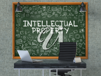Intellectual Property Concept Handwritten on Green Chalkboard with Doodle Icons. Office Interior with Modern Workplace. Gray Concrete Wall Background. 3D.