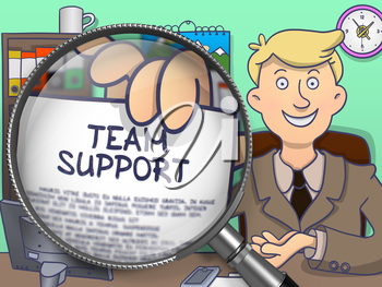 Team Support through Lens. Business Man Showing a Paper with Text. Closeup View. Multicolor Doodle Illustration.