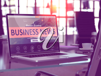 Business News Concept. Closeup Landing Page on Laptop Screen  on background of Comfortable Working Place in Modern Office. Blurred, Toned Image. 3D Render.