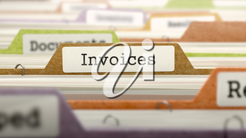 Invoices Concept on Folder Register in Multicolor Card Index. Closeup View. Selective Focus. 3D Render.