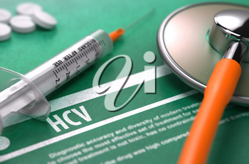HCV - - Hepatitis C Virus - Printed Diagnosis on Green Background and Medical Composition - Stethoscope, Pills and Syringe. Medical Concept. Blurred Image. 3D Render.