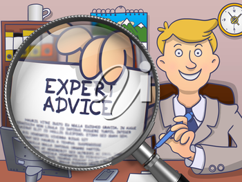 Expert Advice. Happy Business Consultant Welcomes in Office and Showing Paper with Offer through Lens. Colored Doodle Style Illustration.