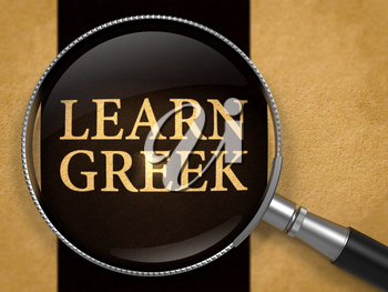 Learn Greek through Lens on Old Paper with Black Vertical Line Background. 3D Render.