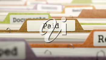 Paid Concept on Folder Register in Multicolor Card Index. Closeup View. Selective Focus. 3D Render.