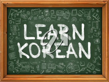 Green Chalkboard with Hand Drawn Learn Korean with Doodle Icons Around. Line Style Illustration.