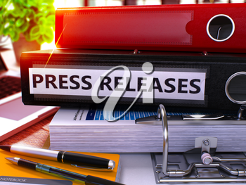 Press Releases - Black Ring Binder on Office Desktop with Office Supplies and Modern Laptop. Press Releases Business Concept on Blurred Background. Press Releases - Toned Illustration. 3D Render.