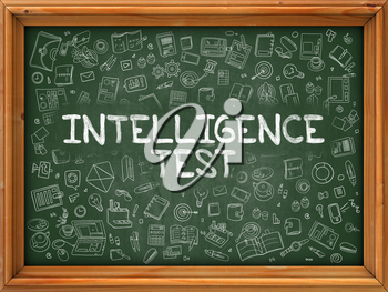 Hand Drawn Intelligence Test on Green Chalkboard. Hand Drawn Doodle Icons Around Chalkboard. Modern Illustration with Line Style.