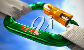 Green Carabine with White Ropes on Sky Background, Symbolizing the Team. Selective Focus. 3D Render.