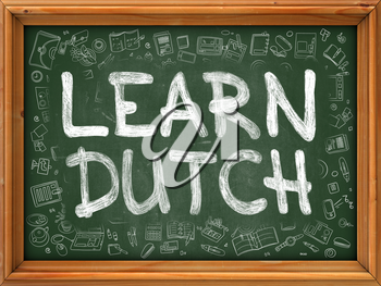Learn Dutch Concept. Modern Line Style Illustration. Learn Dutch Handwritten on Green Chalkboard with Doodle Icons Around. Doodle Design Style of Learn Dutch Concept.