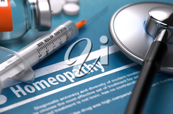 Homeopathy - Medical Concept on Blue Background with Blurred Text and Composition of Pills, Syringe and Stethoscope. 3D Render.
